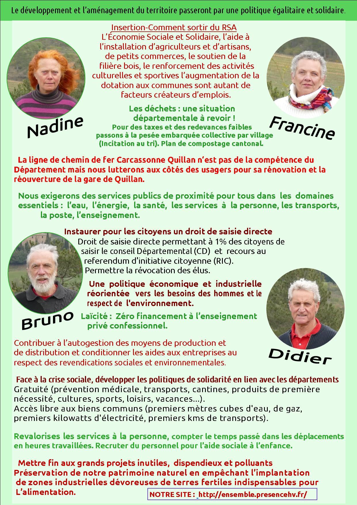 ENSEMBLE! coude à coude /pour les élections départementales de juin 2021 pour le canton de la Haute-Vallée de l'Aude